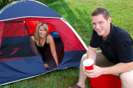 boyfriend and girlfriend camping