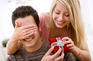 Girlfriend giving experience days gift