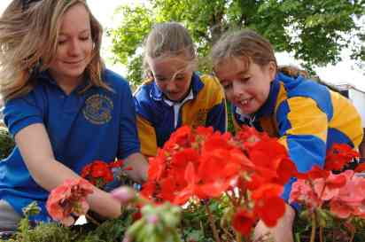 teenagers gardening