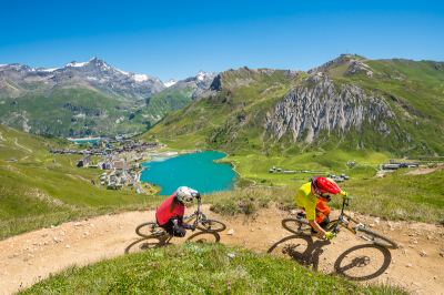 Mountain biking in the French Alps in the Summer