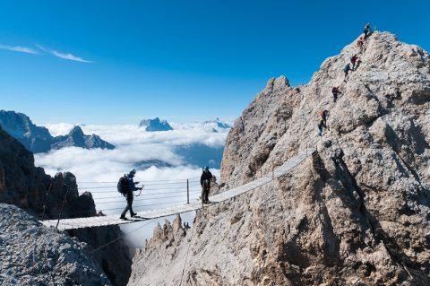 Via Ferrata climbing iron pathways across mountains