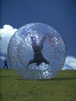 Zorbing in a gigantic inflatable ball