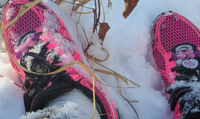 Trail running shoes in winter