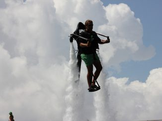 Flying in the air using a water powered jet pack