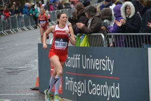 student woman running at Cardiff University