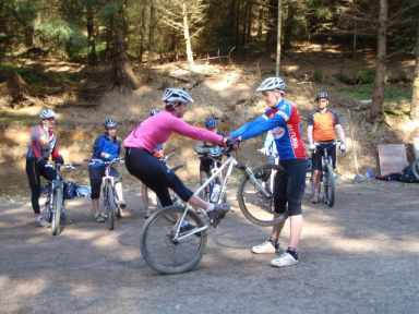 Learning advenced mountain bike skills in Whinlatter