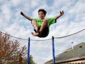 jumping on an outdoor trampoline for fitness