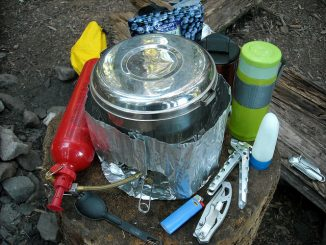 Camping stove, fuel bottle and accessories