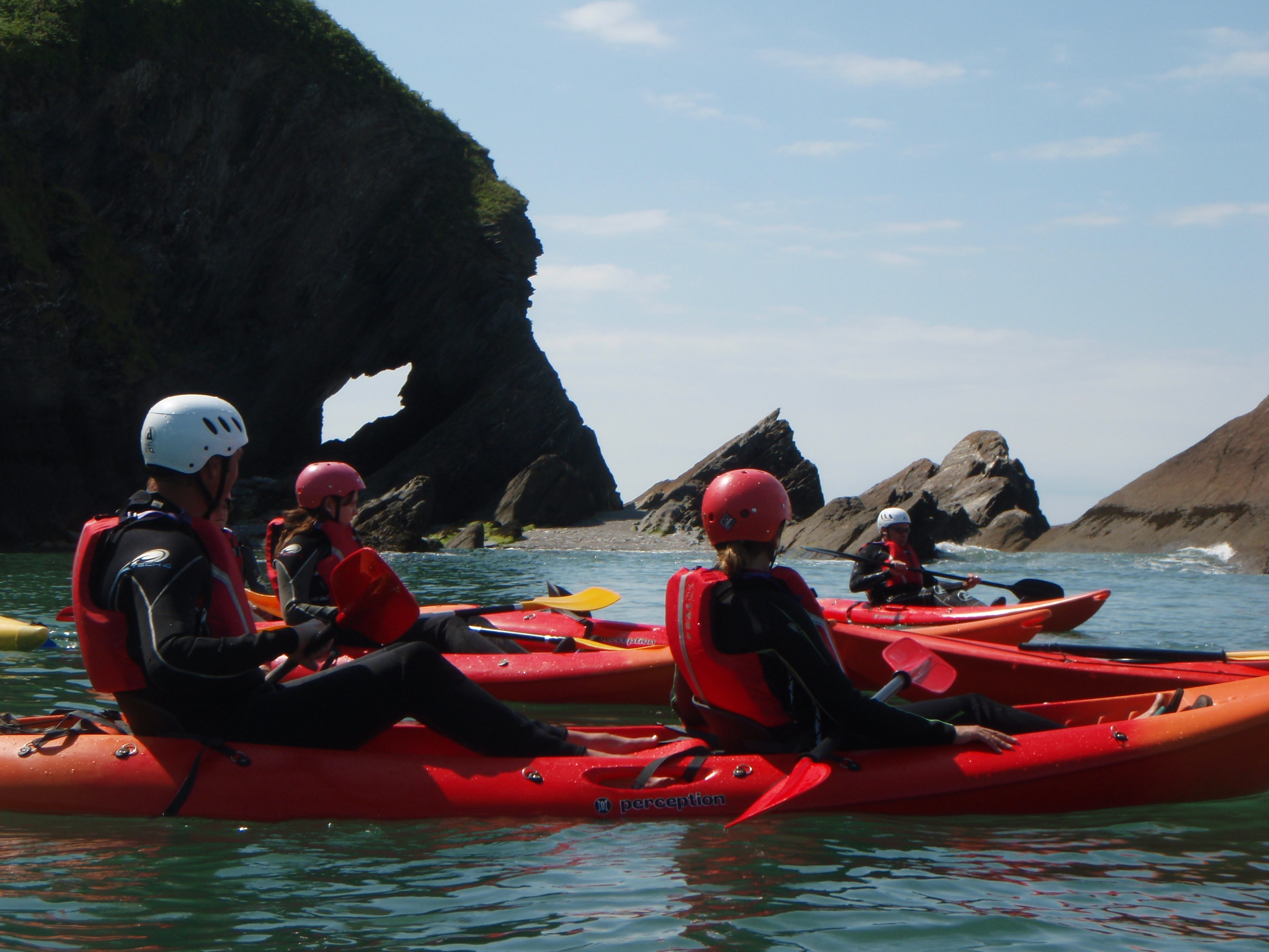 sea kayaking along the coast