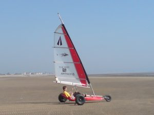 Sand yachting on a beach