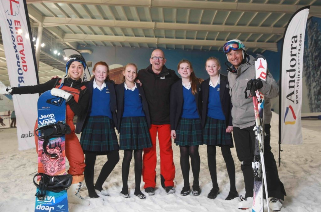 Aimee Fuller, Graham Bell and Eddie Eagle Edwards with schoolchildren