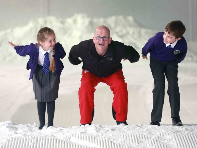 Eddie Eagle Edwards with school children