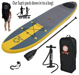 Inflatable stand up paddle board in a bag
