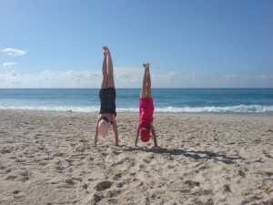 Hand Stands on the Beach
