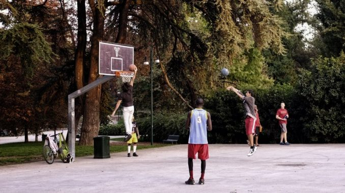 Basketball game outdoors in Milan Italy