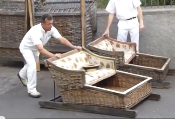 Funchal wicker basket toboggan sled ride