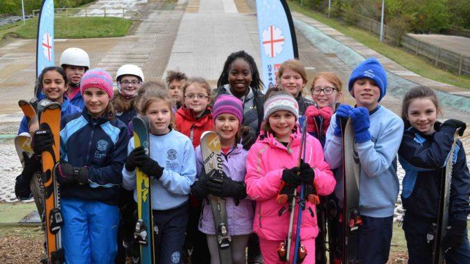 School Children enjoying skiing for National Schools Snowsport Week