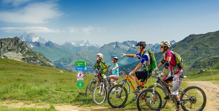 Family mountain biking in Les Arcs French Alps in Summer