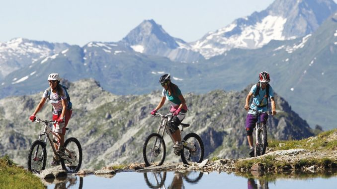 Mountain biking in the mountains in Les Arcs, France
