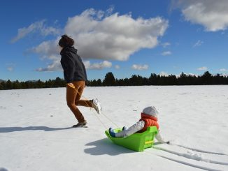 Woman pulling child on a sledge