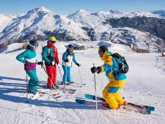 Family group ski instruction