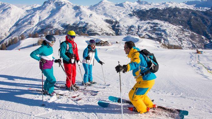 Family group ski instruction