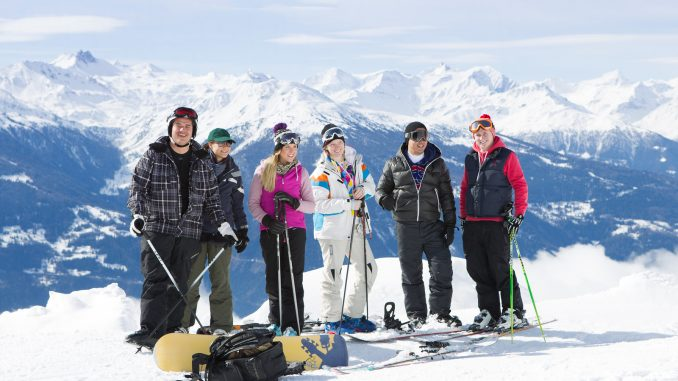 Students in the snow at Crans Montana Switzerland