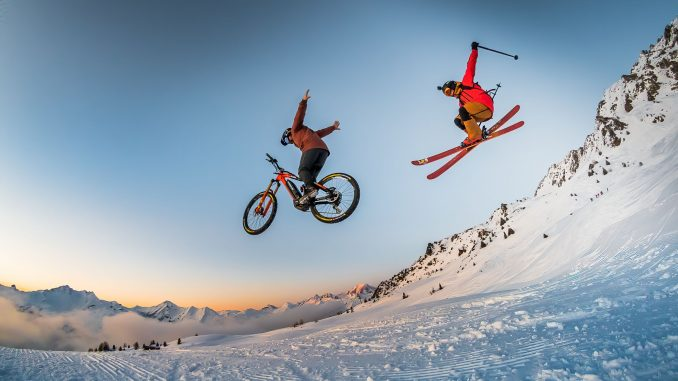 Ski and bike jump on the Les Arcs Summit Run