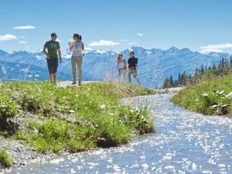 Couples enjoying summer activities in Crans Montana Switzerland
