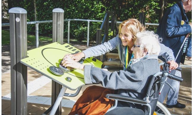 Improving motor skills at a senior fitness park